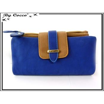 Porte-feuille + monnaie simple - Multi-compartiments détachable - Bleu marine / Caramel