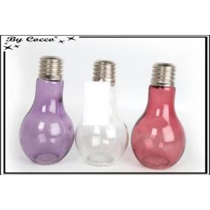 Vase - Forme ampoule - Rose / Blanc / Violet x6