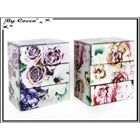 boite de rangement en verre 3 tiroirs fleuries rose violet x2 cocconelle. Black Bedroom Furniture Sets. Home Design Ideas