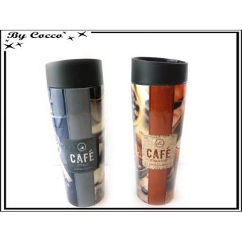Mugs isolants - Double paroie - Café - Rouge / Noir x2