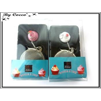Boule à thé - Cupcake - Rose / Blanc x2