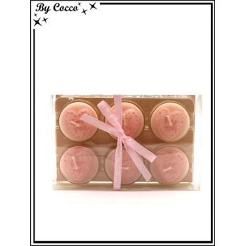 Lot de 6 bougies chauffe-plat - Coeurs - Rose