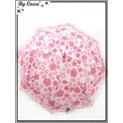 Parapluie - Canne - Fleurs d'hibiscus - Blanc / Rose