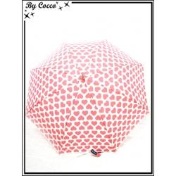 Parapluie - Canne - Coeurs - Blanc / Rose