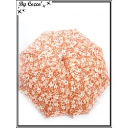 Parapluie - Canne - Fleurs - Blanc / Rouge