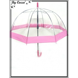 Parapluie enfant - Canne - Cloche - Transparent - Rose