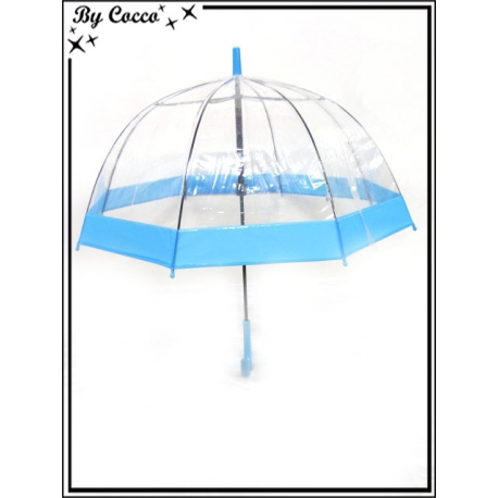 Parapluie enfant - Canne - Cloche - Transparent - Bleu