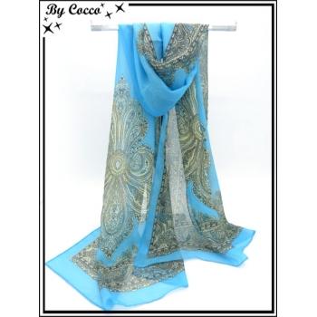 Mousseline - Impression cachemire - Fond bleu