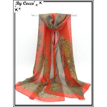 Mousseline - Impression cachemire - Motifs plus foncés - Fond rouge