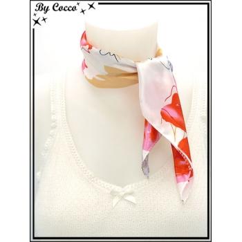 Carré satin - Fond blanc - Fleurs - Rouge / Marron clair / Gris