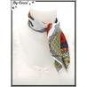 Carré satin - Fond blanc - Cordes et pompons gris, oranges, rouges et jaune