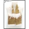 Carré mousseline - Impression cachemire - Fond blanc - Motif beige, parme et rouge brique