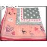 Carré mousseline - Fond rose - Cadre gris - Motifs pois, coeurs et animaux - Bordure fushia