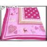 Carré mousseline - Fond violet - Cadre mauve - Motifs pois, coeurs et animaux - Bordure rose