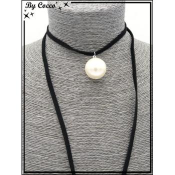 Choker - Pendentif perle nacrée - Noir