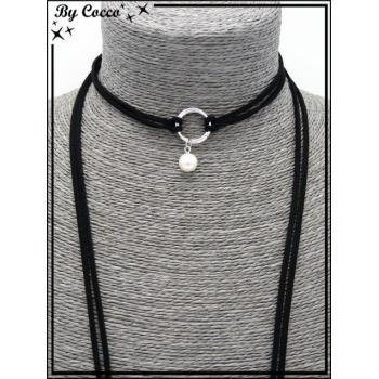 Choker - Pendentif petite perle nacrée - Double anneaux - Noir / Argent