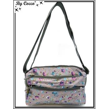 Vivi Secret 1 - Petite Besace rectangle - 2 poches à fermetures Zip - 4 poches - Petites fleurs - Multicolor