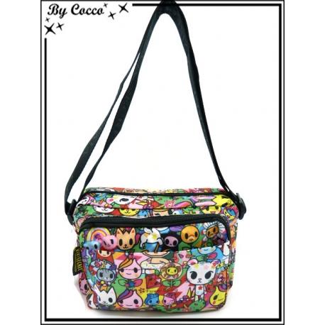 Vivi Secret 2 - Petite Besace rectangle - Grande poche avant zip - 4 poches - Cartoons - Couleurs flashy - Multicolor