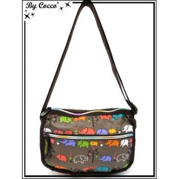Vivi Secret 3 - Petite Besace rectangle - Poche zippée de chaque côté - 3 poches - Elephants - Multicolor