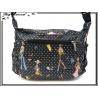 Vivi Secret 5 - Grande Besace rectangle - Triple poche avant zippée - 5 poches - Petits pois / Femmes - Noir / Blanc