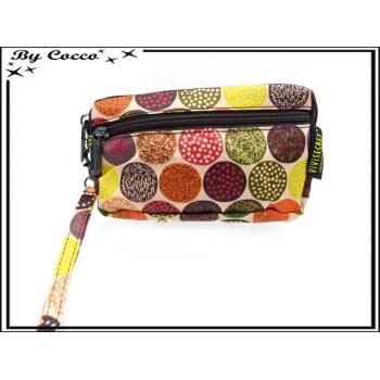 Vivi Secret 17 - Petite pochette - Fermeture Zip - 3 poches - Petits ronds - Multicolor