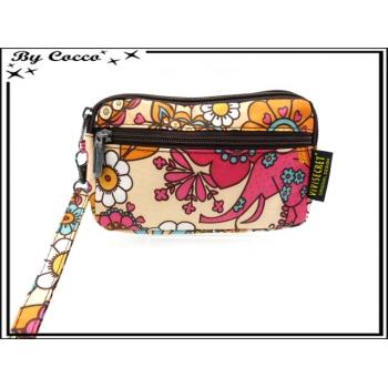 Vivi Secret 17 - Petite pochette - Fermeture Zip - 3 poches - Fleurs couleurs pop - Multicolor