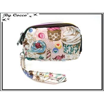 Vivi Secret 18 - Petit porte-monnaie - Fermeture Zip - 3 poches - Gourmandises - Multicolor