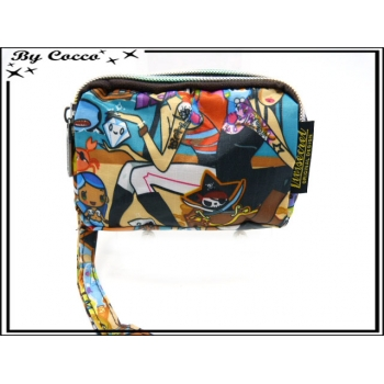 Vivi Secret 18 - Petit porte-monnaie - Fermeture Zip - 3 poches - Pirates - Multicolor