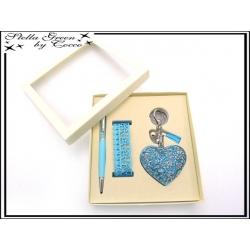 Coffret Strass - Stella Green - Stylos - Bracelet - Bijou de sac - Coeur - Bleu