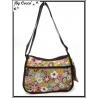 Vivi Secret 19 - Besace rectangle et sa petite pochette - 3 poches à fermetures Zip - Fleurs fond marron clair - Multicolor