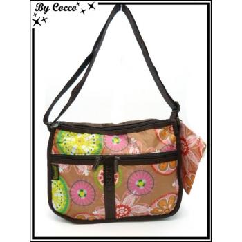 Vivi Secret 21 - Besace rectangle - 3 poches avant - Extensible - Fleurs couleurs acidulés - Multicolor
