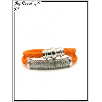 Bracelet - Multi-rangs - Strass - Orange