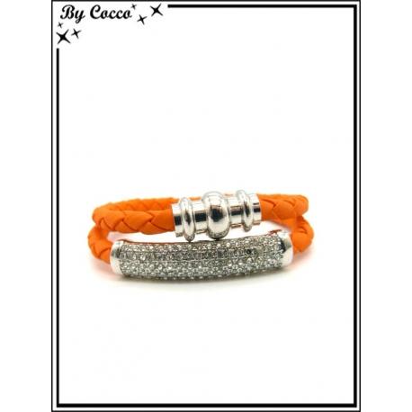 Bracelet - Multi-rangs - Strass - Orange