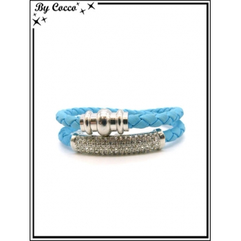 Bracelet - Multi-rangs - Strass - Bleu