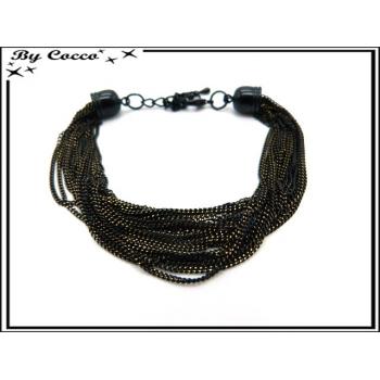 Bracelet - Multi-rangs - Chaînettes - Noir / Doré