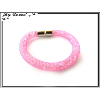 Bracelet - Filet - Nylon - Façon strass - Rose