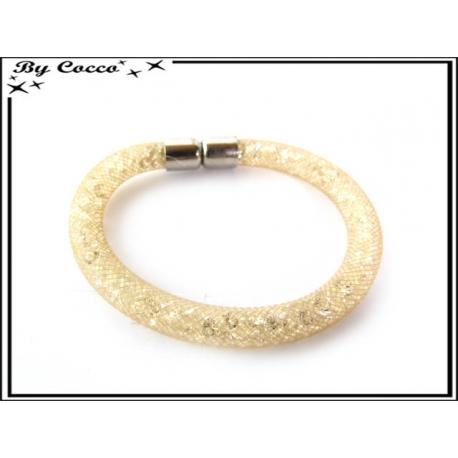 Bracelet - Filet - Nylon - Façon strass - Crème