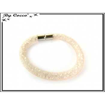 Bracelet - Filet - Nylon - Façon strass - Orange pastel