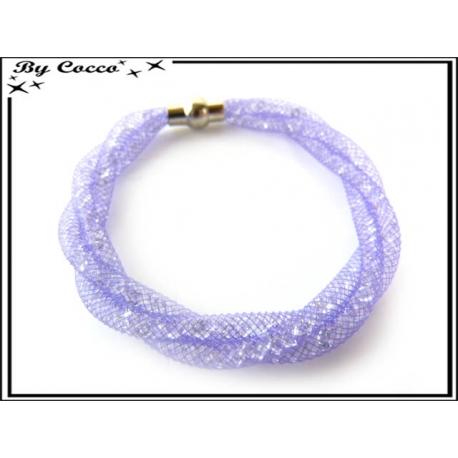 Bracelet - Filet fin - Nylon - Façon strass - Torsadé - Fermoir rond - Violet