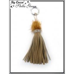 Bijoux de Sacs - Stella Green - Pompon - Strass - Franges - Camel