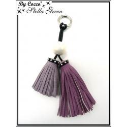 Bijoux de Sacs - Stella Green - Deux pompons - Une perle nacré - Parme / Violet