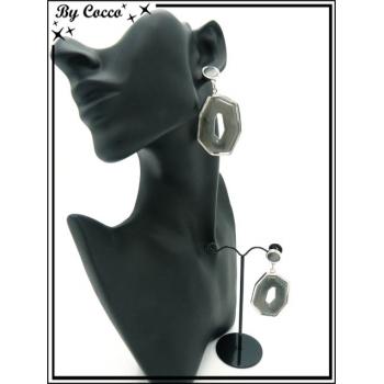 Boucles d'oreilles - Résine - Dégradé gris