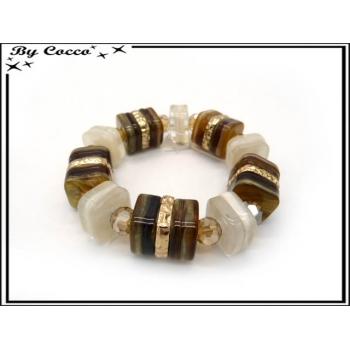 Bracelet résine - Perles carrées - Dégradé marron / beige