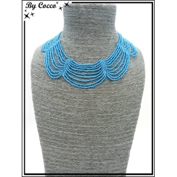 Collier - Multi-rangs - Perles - Bleu