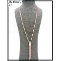 Sautoir - Chaînettes - Piece - Perles à facettes - Rose poudré