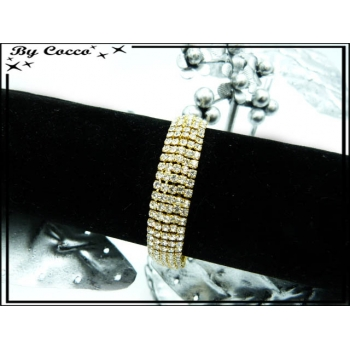 Bracelet - Petit format - Strass - Doré