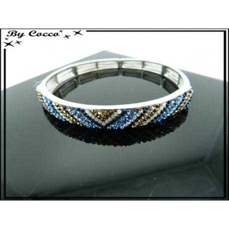 Bracelet - Elastique - Losanges - Diagonales - Tons bleus