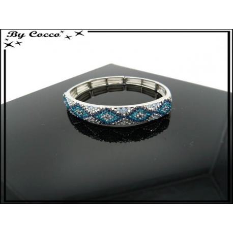 Bracelet - Elastique - Losanges - Tons bleus