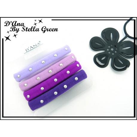 Plaque de 4 Elastiques - Epais - Clouté - Tons violets / bleus