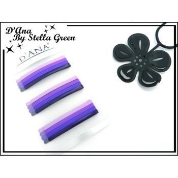 Barrettes plates - Plaque de 12 - Tons violets